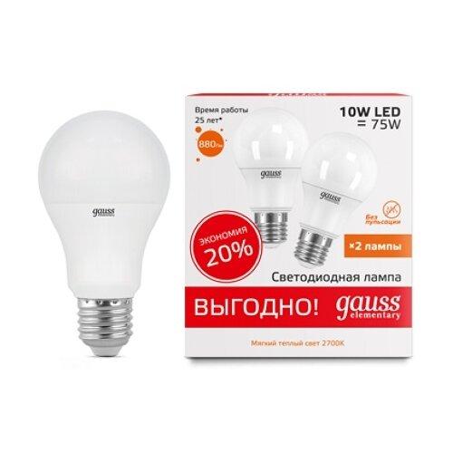 Упаковка светодиодных ламп 2 шт gauss E27, G60, 10ВтЛампочки<br>