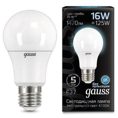 Лампа светодиодная gauss E27, A60, 16ВтЛампочки<br>