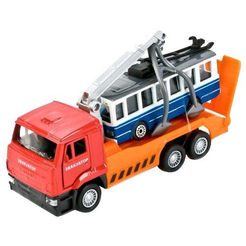 Набор машин ТЕХНОПАРК КамАЗ + троллейбус (SB-17-24-G-WB) красный/оранжевый/синий