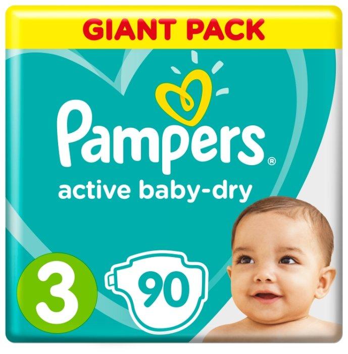 Pampers подгузники Active Baby-Dry 3 (6-10 кг) 90 шт.