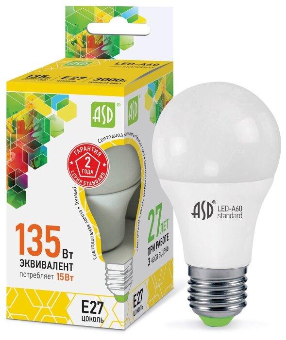 Светодиодная LED лампа ЛОН ASD E27 (е27) LED-A60-standard 15W (Вт) 220V 160-260В 3000К 1200Лм (Арт. 4690612002088)