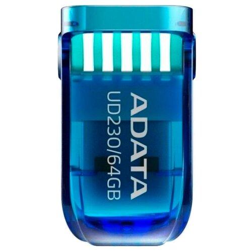 Фото - Флешка ADATA UD230 64GB синий флешка adata dashdrive uv128 64gb черный голубой