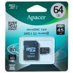 Карта памяти Apacer microSDXC Class 10 UHS-I U1 (R45 MB/s) + SD adapter