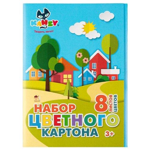 Купить Цветной картон Kanzy, A4, 8 л., 8 цв., Цветная бумага и картон