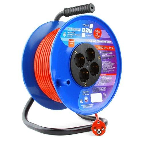 Power Cube Удлинитель на катушке 16А/3,5кВт, 4 розетки с/з, 30мУдлинители на катушках, силовые удлинители<br>