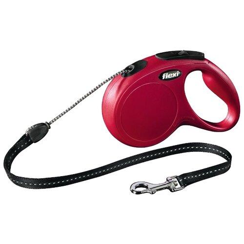 Поводок-рулетка для собак Flexi New Classic M тросовый красный/черный 8 мПоводки для собак<br>