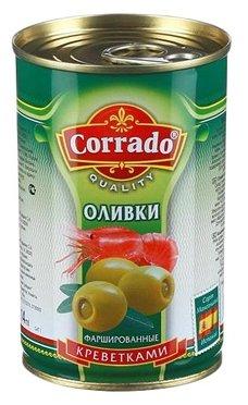 Corrado Оливки фаршированные креветками в рассоле, жестяная банка 300 г