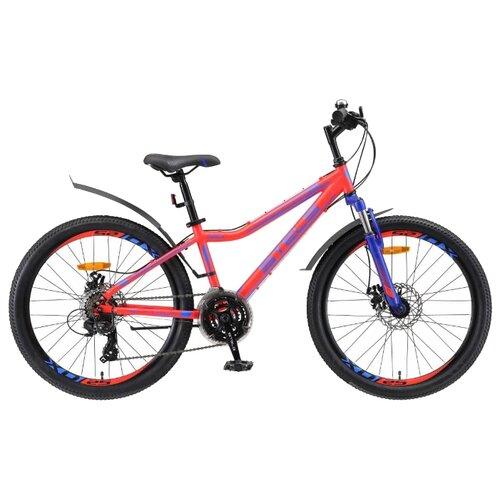 Подростковый горный (MTB) велосипед STELS Navigator 410 MD 24 21-sp V010 (2019) неоновый/красный 13 (требует финальной сборки) велосипед stels navigator 410 md 24 21 sp v010 13 неоновый красный