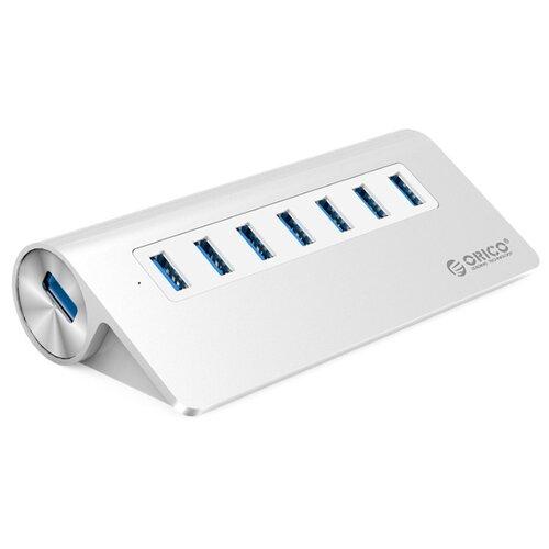 USB-концентратор ORICO M3H7, разъемов: 7, серебристый