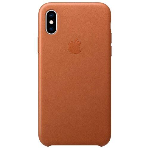 Купить Чехол Apple кожаный для iPhone XS золотисто-коричневый