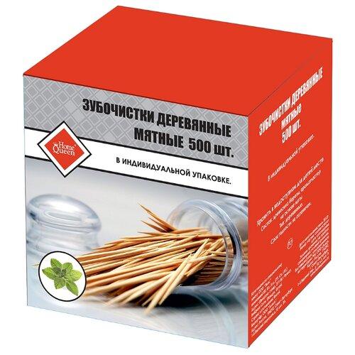 HomeQueen Зубочистки деревянные мятные в индивидуальной упаковке, 500 шт.
