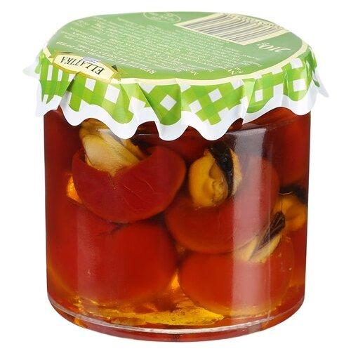Красный сладкий перец фаршированный мидиями ELLATIKA стеклянная банка 210 гОвощи консервированные<br>