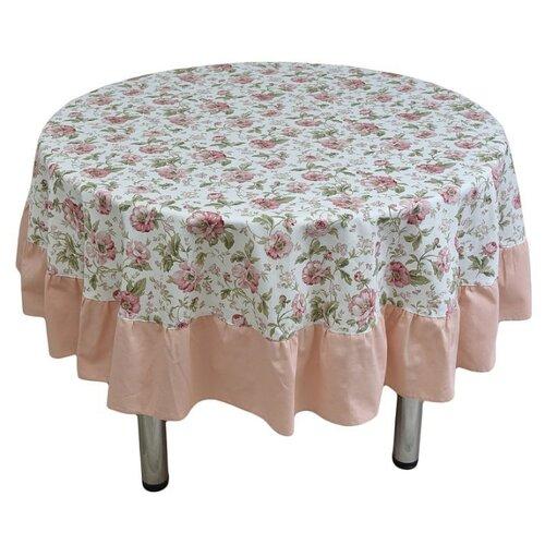 Скатерть Fresca Design English rose с рюшей (skr04.2) 185 см розовыйСкатерти и салфетки<br>