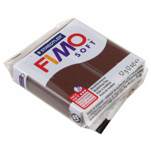 Полимерная глина FIMO Soft запекаемая шоколад (8020-75), 57 г полимерная глина fimo soft запекаемая зеленое яблоко 8020 50 57 г