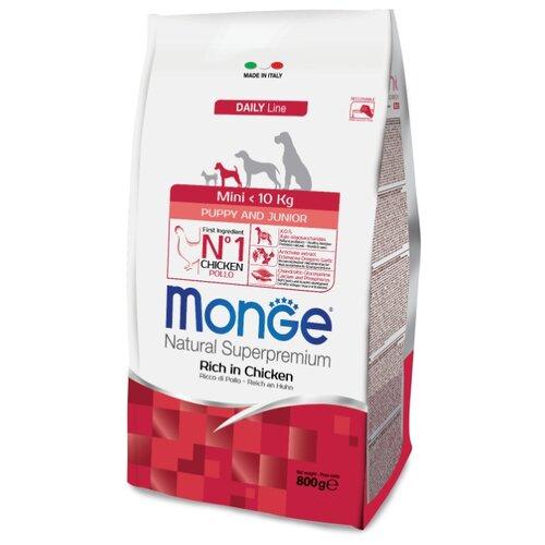 Корм для собак Monge (0.8 кг) Dog Mini Puppy&Junior – Курица с рисом. Для щенков и юниоров мелких породКорма для собак<br>
