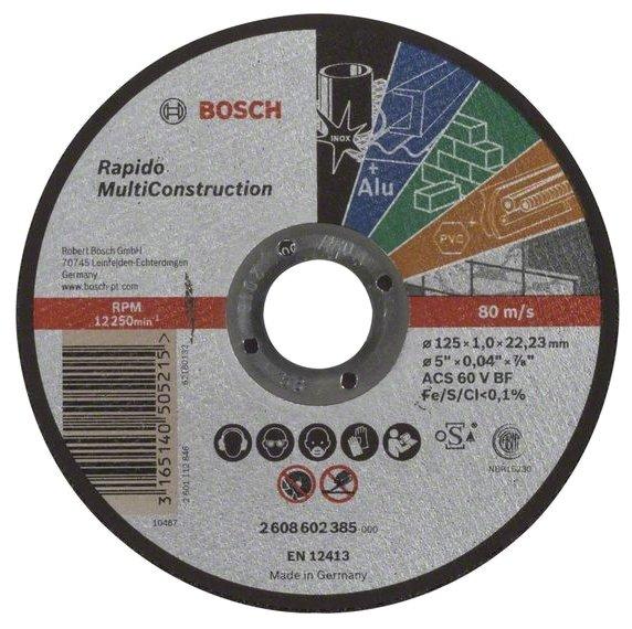 Диск отрезной 125x1x22.23 BOSCH Rapido Multi Construction (2608602385)