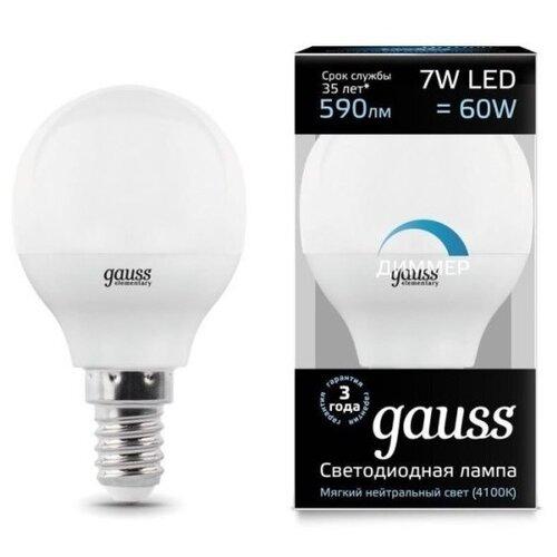 Лампа светодиодная gauss 105101207-D, E14, G45, 7Вт лампа светодиодная gauss 103101207 d e14 c38 7вт