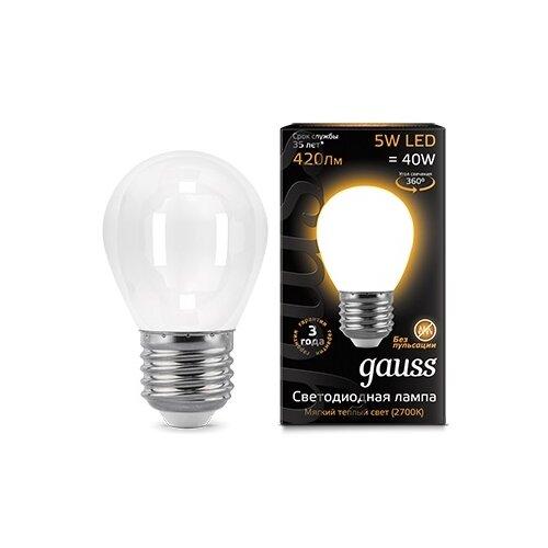 Лампа светодиодная gauss 105202105, E27, G45, 5Вт лампа светодиодная gauss 105101210 e14 g45 9 5вт