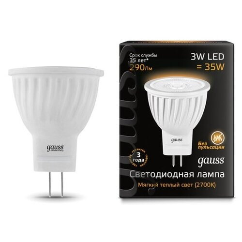 Лампа светодиодная gauss 132517103, GU4, MR11, 3Вт лампа светодиодная gauss 207707203 g4 jc 3вт