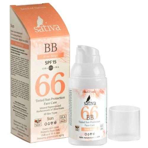 Фото - Sativa BB крем №66, SPF 15, 30 мл, оттенок: розово-бежевый витэкс bb крем тонирующий уход spf 15 30 мл оттенок 51 natural
