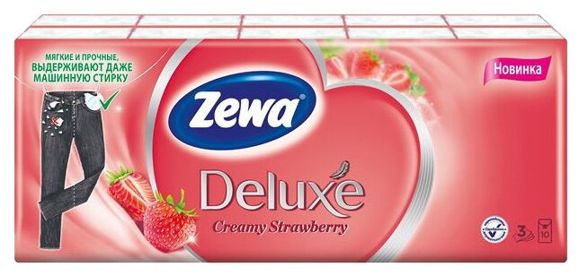 Носовые платочки Zewa Deluxe Клубника, 3 слоя, 10шт.*10