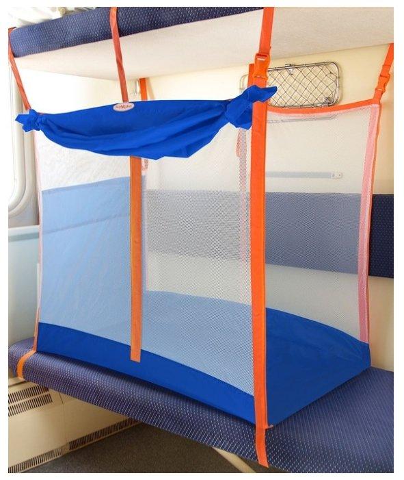ЖД-манеж в поезд для детей Manuni от 3 лет голубой с белой сеткой (3 стенки +шторка)