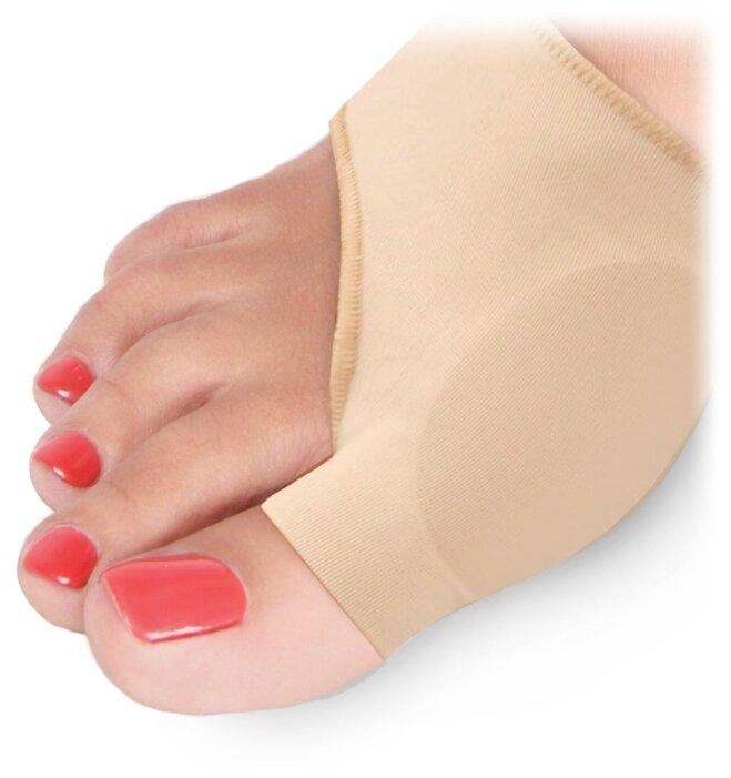 Luomma Протектор силиконовый для защиты большого пальца стопы на тканевой основе Lum609 бежевый 2