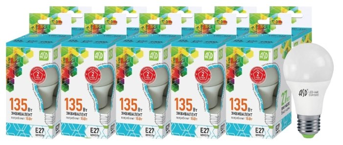 Упаковка светодиодных ламп 10 шт ASD LED-A60-standard E27, A60, 15Вт, 4000К