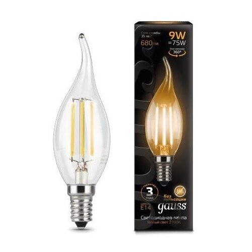 Лампа светодиодная gauss 104801109, E14, CA35, 9Вт лампа светодиодная gauss 104801005 e14 ca35 5вт
