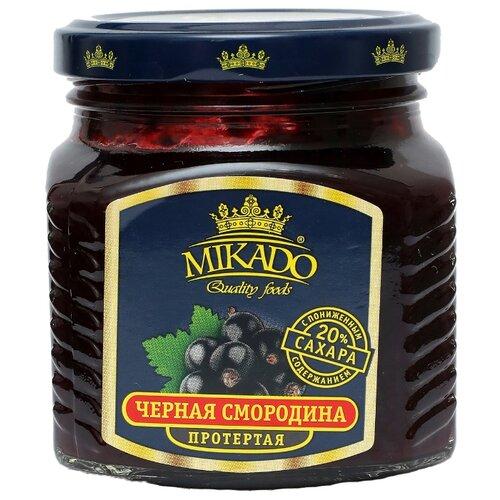 Протертая ягода Mikado черная смородина с пониженным содержанием сахара, банка 270 гВаренье, повидло, протертые ягоды<br>