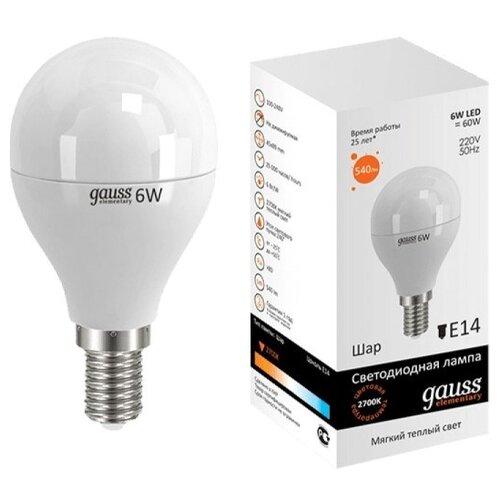 Лампа светодиодная gauss 53116, E14, G45, 6Вт лампа светодиодная gauss 105101210 e14 g45 9 5вт