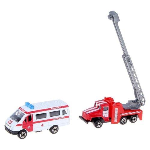 Купить Набор машин ТЕХНОПАРК Спецтехника (SB-15-07-WB) белый/красный, Машинки и техника