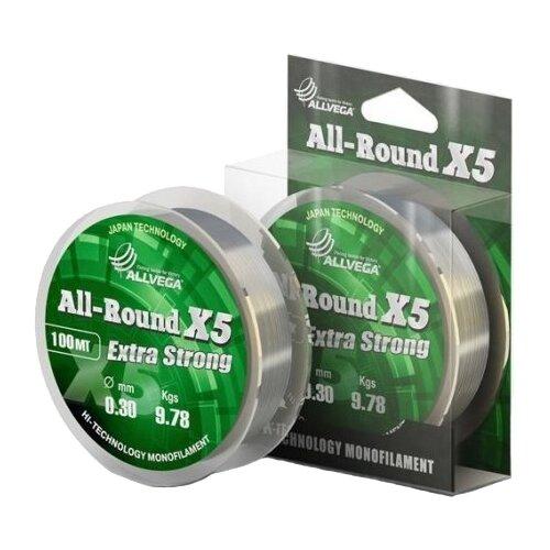 Монофильная леска ALLVEGA ALL-ROUND X5 прозрачная 0.3 мм 100 м 9.78 кг