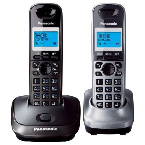 Радиотелефон Panasonic KX-TG2512 темно-серый металлик/серый металлик