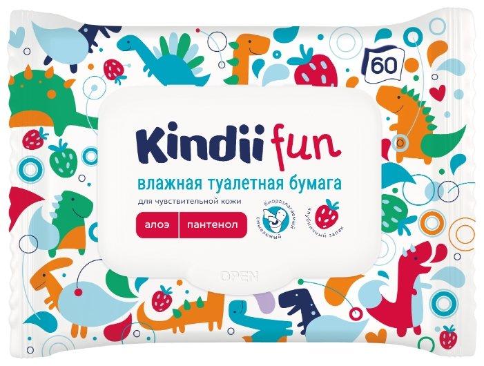 Влажная туалетная бумага Cleanic Kindii Fun для чувствительной кожи с алоэ и пантенолом