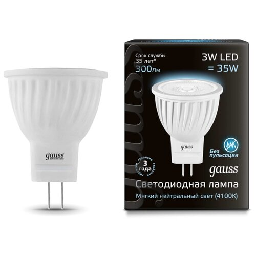 Лампа светодиодная gauss 132517203, GU4, MR11, 3Вт лампа светодиодная gauss 207707203 g4 jc 3вт