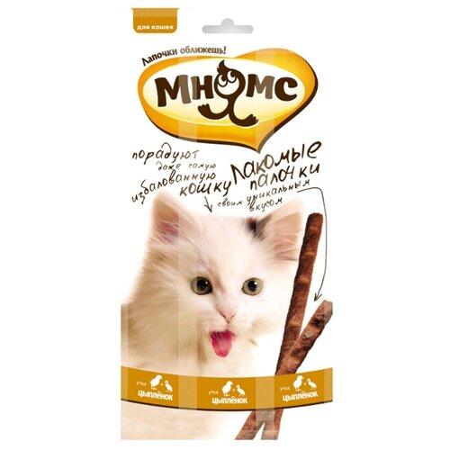 Лакомство для кошек Мнямс Лакомые палочки Цыпленок, утка, 5 г х 3 уп.
