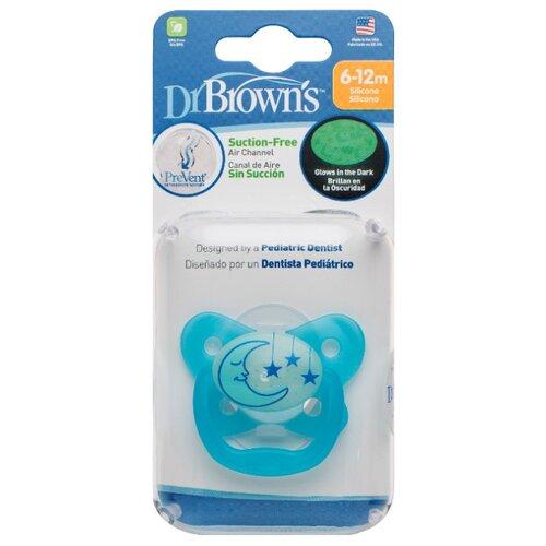 Купить Пустышка силиконовая ортодонтическая Dr. Brown's Prevent Contoured Glow-in-the-Dark 6-12 м (1 шт.) голубой, Пустышки и аксессуары