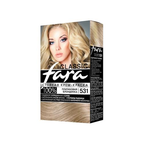 Fara Classic Стойкая крем-краска для волос, 531, платиновая блондинка fara classic стойкая крем краска для волос 500 блондор