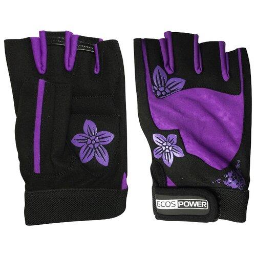 цена Перчатки ECOS Power 5106 черный/фиолетовый M онлайн в 2017 году