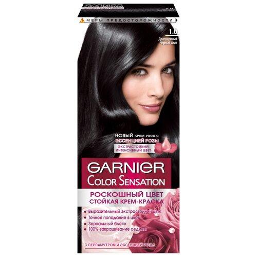 GARNIER Color Sensation стойкая крем-краска для волос, 1.0, Драгоценный черный агат