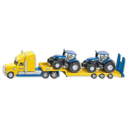 Купить Набор техники Siku Тягач New Holland с 2 тракторами (1805) 1:87 22.3 см желтый/синий, Машинки и техника