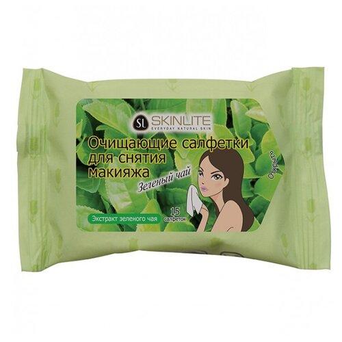 Skinlite очищающие салфетки для снятия макияжа Зеленый чай мини маска для лица skinlite зеленый чай