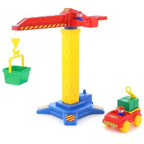 Набор техники Полесье Автомобиль и башенный кран (58195) желтый/красный/зеленый