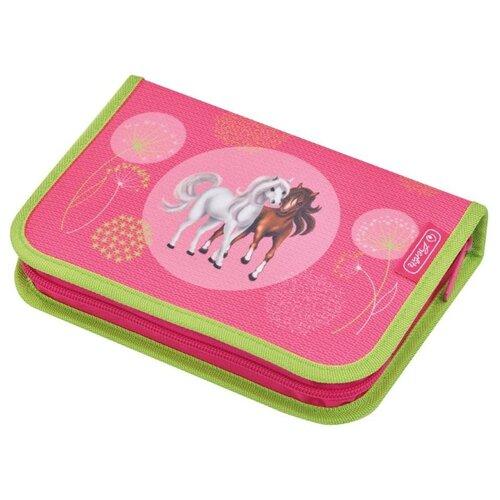 Herlitz Пенал Spring Horses (50014316) розовый/зеленый herlitz рюкзак herlitz ultimate horses