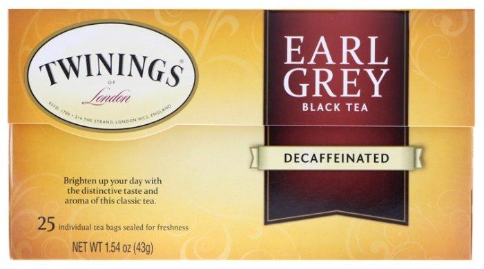 Чай черный Twinings Earl grey без кофеина в пакетиках