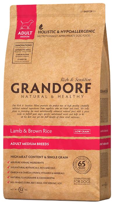 Корм для собак Grandorf Ягнёнок с рисом Медиум