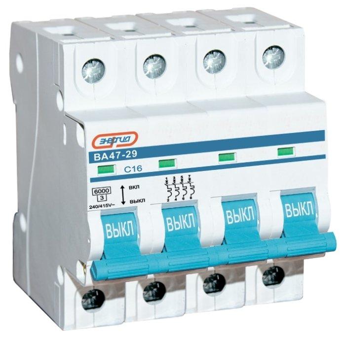 Автоматический выключатель Энергия ВА 47-29 4P (C) 4,5kA