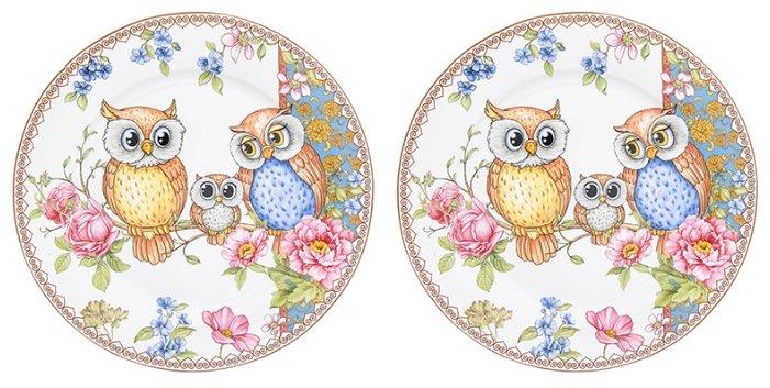 Elan gallery Набор круглых тарелок Совушки 26 см, 2 шт