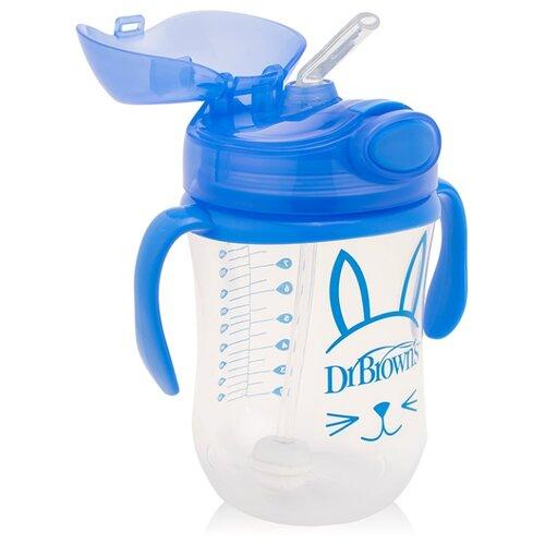 Купить Поильник с трубочкой с грузиком Baby's First Straw Cup, 270 мл синий, Dr. Brown's, Поильники